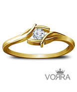 Womens Diamond Engagement Ring 14k Yellow Gold Finish 925 Sterling Solid... - $63.99