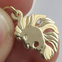 SOLID 18K YELLOW GOLD ZODIAC SIGN PENDANT, ZODIACAL CHARM, SATIN, MADE IN ITALY image 4