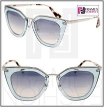 PRADA CINEMA EVOLUTION Sunglasses 53S Translucent Azure Silver Mirror PR53S - $224.73