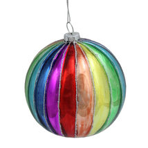 Glittered Shiny Rainbow Striped Glass Ball Christmas Ornament 4 (100mm) ... - $29.95