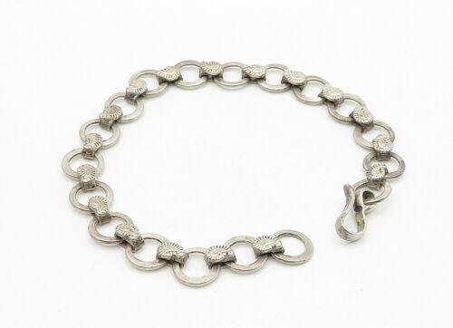 925 Sterling Silver - Vintage Paisley Detail Circle Link Chain Bracelet - B6325 image 2