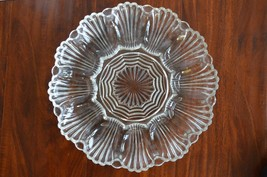 VINTAGE Clear DEPRESSION Glass DISH scalloped  Serving Plate - $9.89