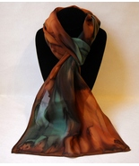 Hand Painted Silk Scarf Green Amber Brown Unique Oblong Head Fashion Wra... - $44.00