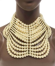 Faux Pearl Oversized Statement Necklace Earrings Set Bridal Burlesque Drag Queen - $51.25