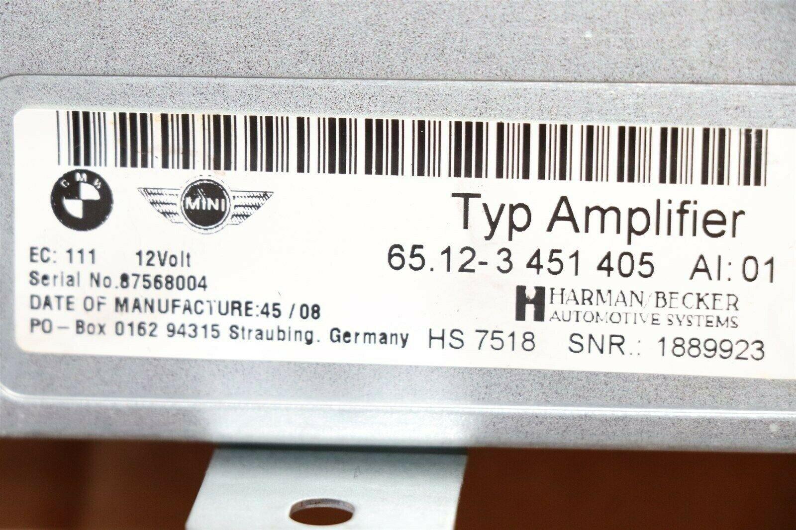 07-09 BMW Mini Cooper Harman/Becker Radio Stereo Amplifier Amp 65.12-3 451 405