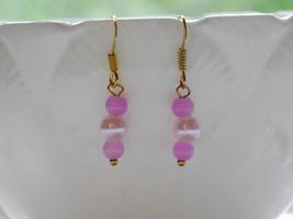 pink beaded handmade earrings - $5.94