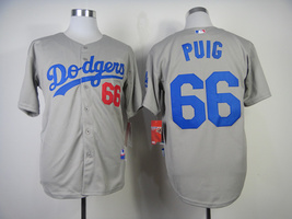 #66 Yasiel Puig Gray Los Angeles Dodgers Majestic MLB Jersey - $37.99