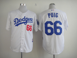 #66 Yasiel Puig White Los Angeles Dodgers Majestic MLB Jersey - $37.99