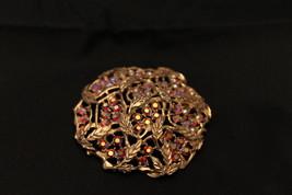 Sarah Coventry Red Aurora Borealis Rhinestone Goldtone Brooch Pin - $7.99