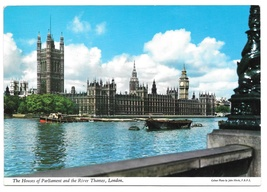 London GB Houses of Parliament Thames River Vintage Postcard 4X6 John Hinde - $4.99