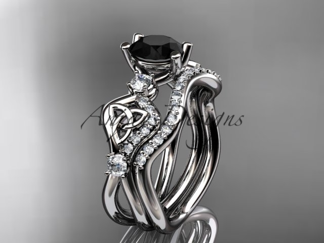 Primary image for 14kt white gold celtic trinity knot engagement set,  Black Diamond CT768S