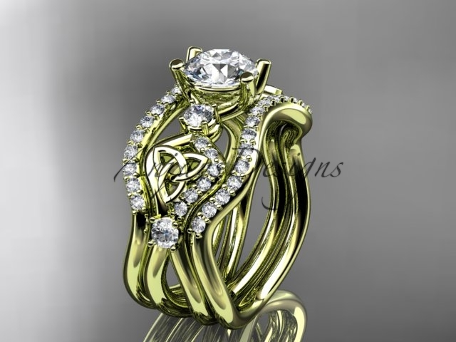 Primary image for 14kt yellow gold celtic trinity knot engagement ring,  matching band CT768S