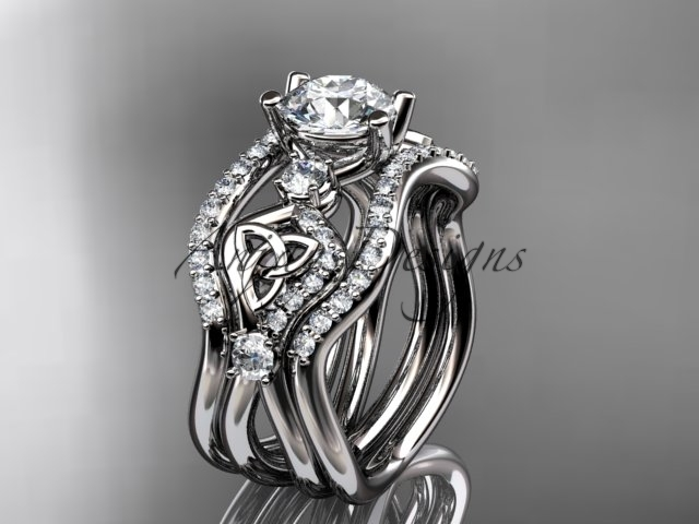 Primary image for Platinum celtic trinity knot engagement ring,  matching band CT768S