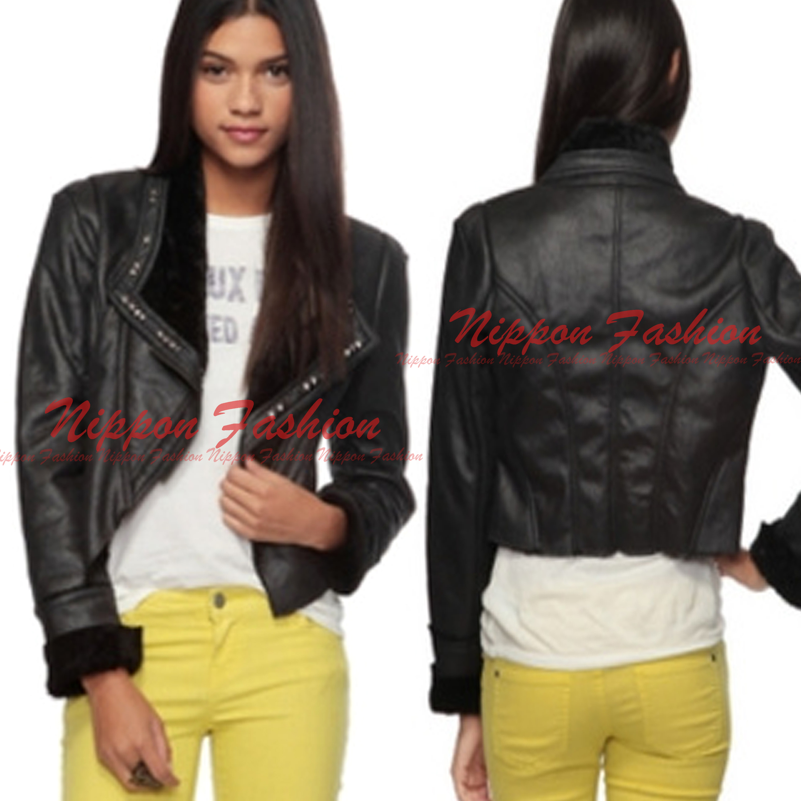Primary image for Forever21 Moto Biker Lapel Collar Faux Fur Studded Jacket Motorcycle Punk Coat
