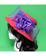 Women's Red And Purple Hand-Decorated Wide Brim 100% Straw Hat - $10.95