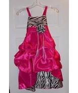 Wonder Girl Sasha Big Girls' Taffeta Zebra High Low Dress 6 Fuchsia - $77.39