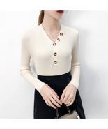 gkfnmt Sexy V Neck 2019 Autumn Winter Sweater Button Warm Knitwear Pullo... - $14.30