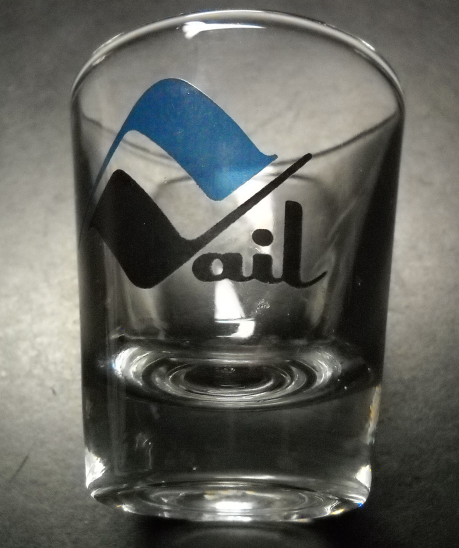 Primary image for Vail Colorado Shot Glass Blue and Black Mountain Vail Logo on Clear Glass