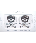 Skull Tattoo Crystal Breast Nipple Body Pasties Set Pair Two Silver Tone... - $19.99