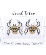 Spider Tattoo Belly Body Nipple Crystal Pasties Set Pair Two Gold Tone Sexy - $17.99