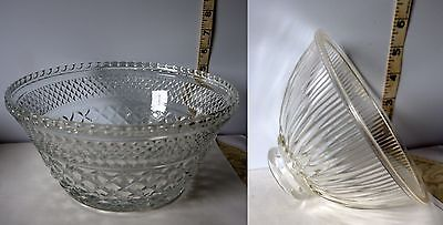 Primary image for Lot of 2 Different Pretty Clear Glass Decorative Bowls w/Etched Designs