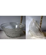 Lot of 2 Different Pretty Clear Glass Decorative Bowls w/Etched Designs - $6.71