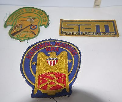 Primary image for 3 Vintage Historical Embroidered Sew On Patches Various Sporting & Gun Clubs