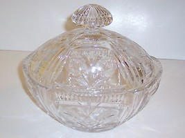 "Vintage Pressed Glass Covered Bowl, Heavy Crystal, 8""H, 8 1/2""L, 6""W - $30.00"