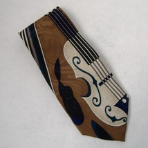 Upbeat Roffe Mens Neckwear Tie 100% Silk Brown Tan Black Music Instrumen... - $20.00