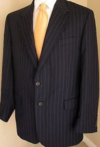 Loro Piana Blazer 44L Lubian Wool Navy Blue Pinstripes Made Italy Sport ... - $87.43 CAD