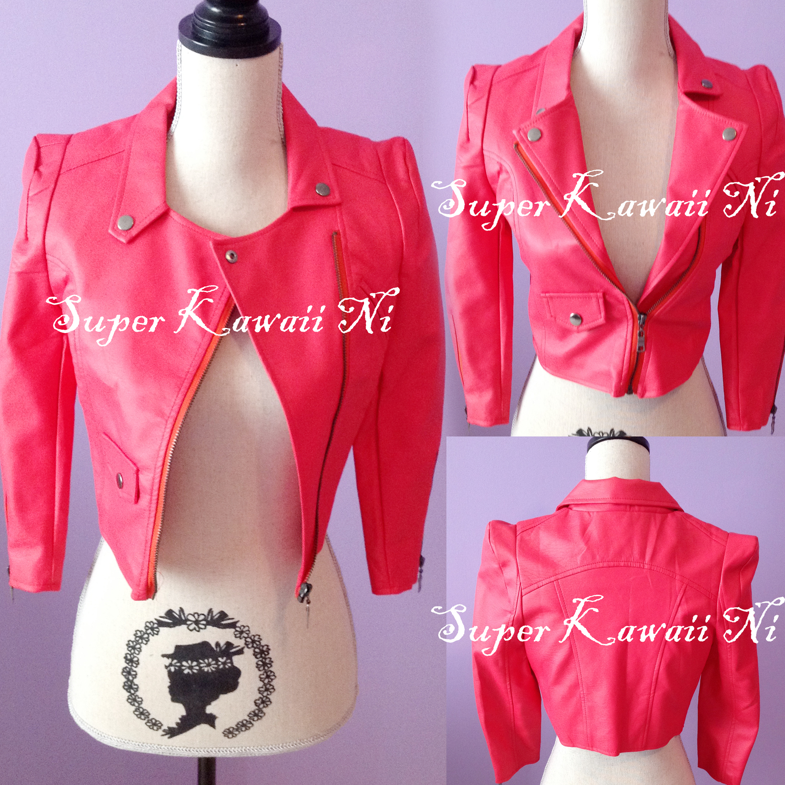 Primary image for Faux Leather Biker Moto Crop Jacket Motorcycle Military Zip Punk Goth Coat Top