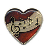 12 Pins - HEART w/ MUSICAL NOTES , music lapel pin 1826 - $9.00