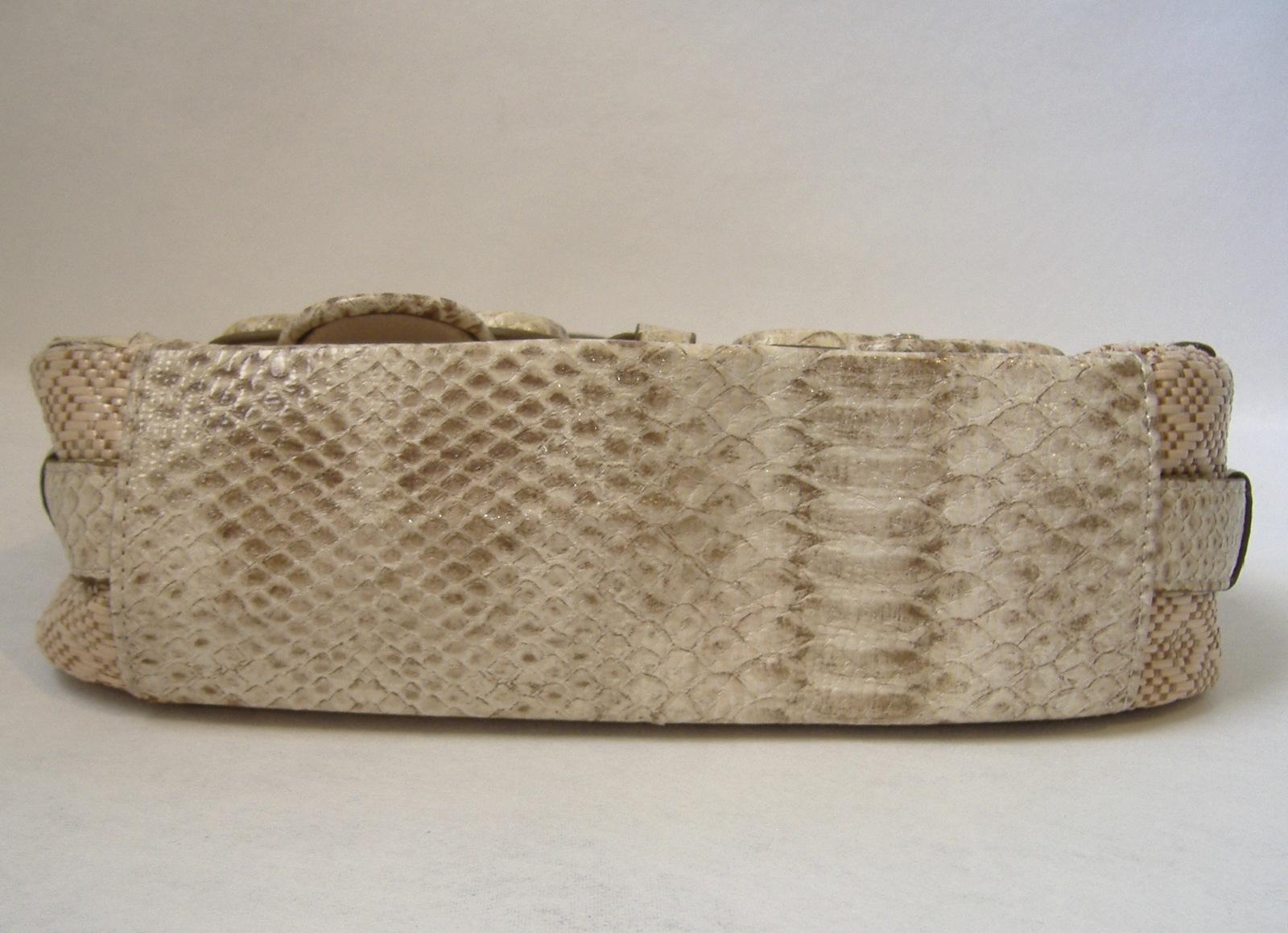 XOXO Faux Snakeskin Weave Purse Baguette Beige Tan Handbag Tote Buckles Chain