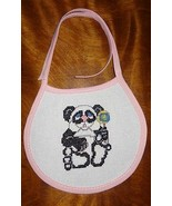 New Panda Bear Rattle baby bib, Girl Finished Cross Stitch Pink Handmade - $18.83