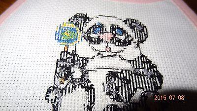New Panda Bear Rattle baby bib, Girl Finished Cross Stitch Pink Handmade