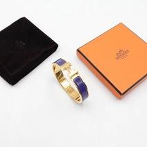 Authentic Hermes Navy Blue Enamel Gold H Clic-Clac Bracelet PM RARE image 6