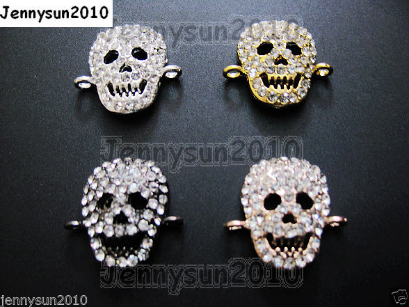 Primary image for 10Pc Side Ways Crystal Rhinestones Halloween Skull Bracelet Connector Charm Bead