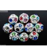 10Pcs Crystal Rhinestone Big Hole Steady Round Beads Fit European Bracel... - $6.18