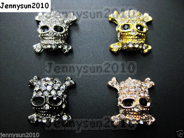 Primary image for 10Pcs Crystal Rhinestones Skull & Cross Bones Bracelet Connector Charm Beads