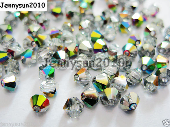 Primary image for 100Pcs Top Quality Czech Crystal Bicone Beads Exclusive 3mm 4mm Crystal Vitrail