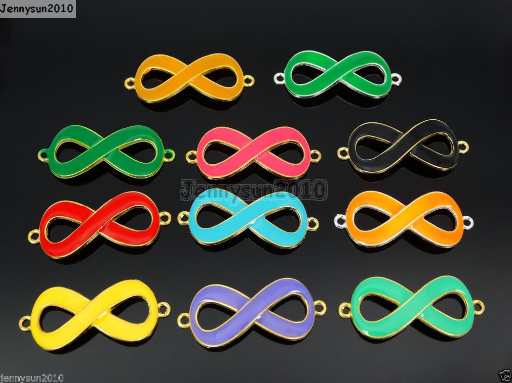 Primary image for 20Pcs Colorful Smooth Metal Big Infinity Bracelet Connector Charm Beads Mixed