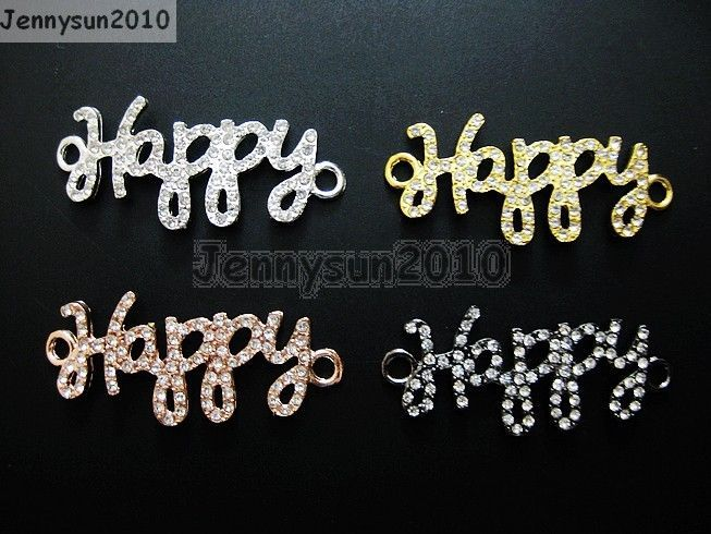 Primary image for 10Pcs Side Ways Crystal Rhinestones Pave Happy Bracelet Connector Charm Beads