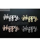 10Pcs Side Ways Crystal Rhinestones Pave Happy Bracelet Connector Charm ... - $8.27