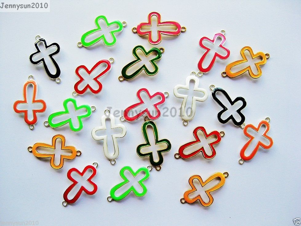 Primary image for 20Pcs Colorful Smooth Metal Open Cross Bracelet Connector Charm Beads Mixed