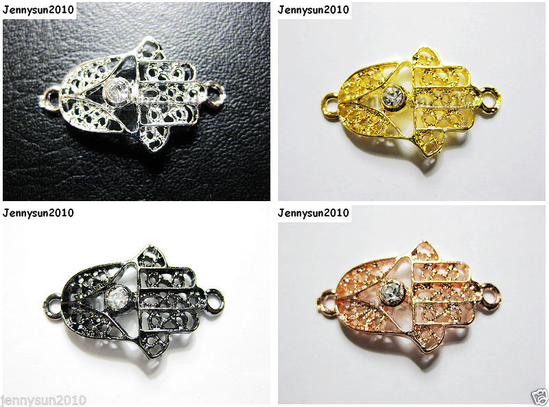 Primary image for 40Pcs Side Ways Single Crystal Rhinestone Hamsa Bracelet Connector Charm Beads
