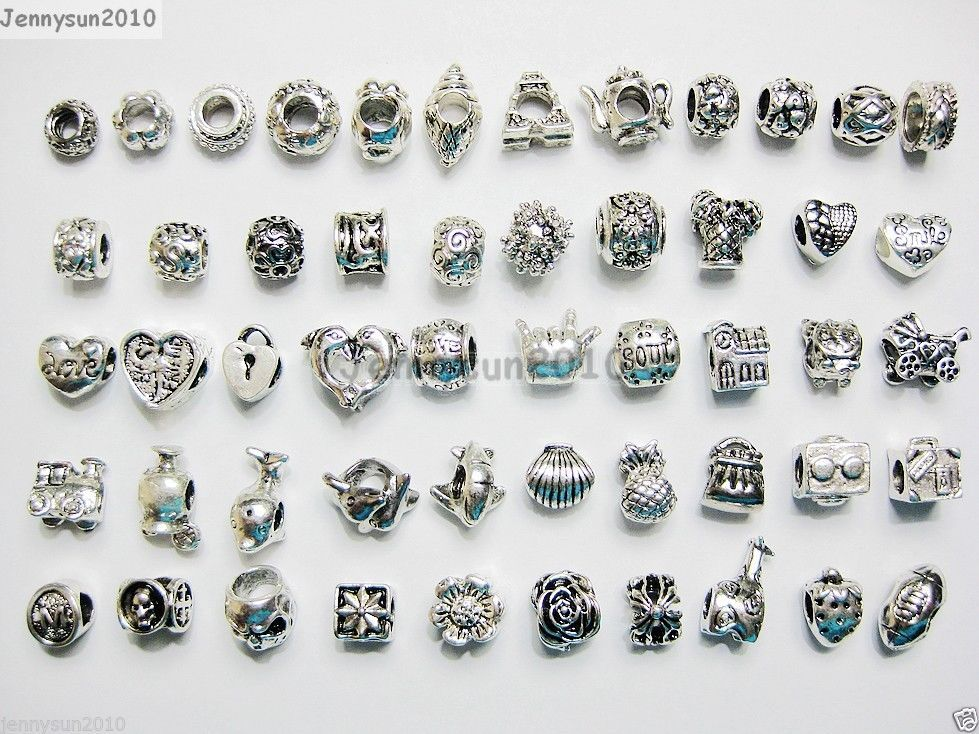 Primary image for 50Pcs Mixed Big Hole Tibetan Silver Charm Beads Fit European Bracelet & Necklace