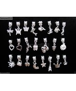 50Pcs Mixed Big Hole Silver Dangle Charm Beads Fit European Bracelet & N... - $9.99