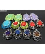 Druzy Quartz Gemstone Crystal Rhinestone Pendant Charm Bead Silver Plate... - $4.03