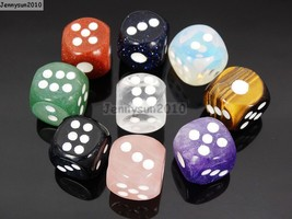 Natural Gemstone Dots Square Dice Beads Game Toys Casino Lucky Reiki Cha... - $3.69+
