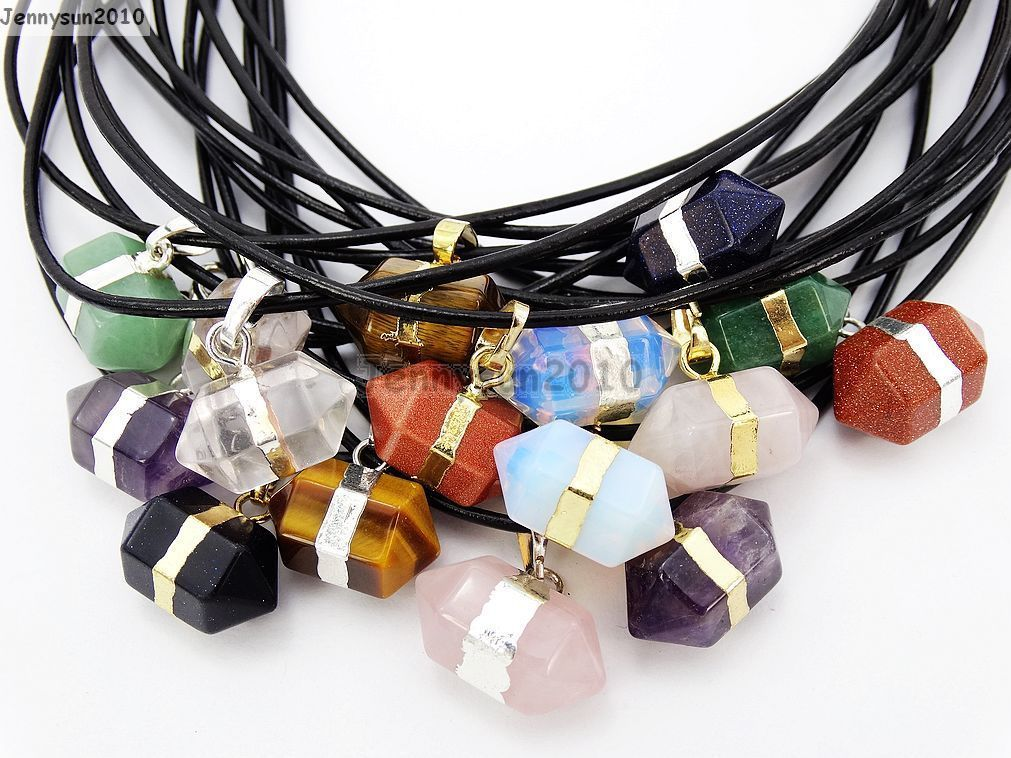 Primary image for Natural Gemstones Hexagonal Prism Pointed Reiki Chakra Pendant Leather Necklace